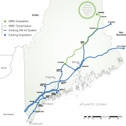 Emera Maine and Central Maine Power Co. have bid for three southern New England states to pay for a transmission line that would deliver windpower from Aroostook County to the regional power grid. The companies said more than half of the line would go through existing rights-of-way and they're working now on acquiring portions of the proposed route from Keene Road to Pittsfield. Emera Maine and Central Maine Power Co.