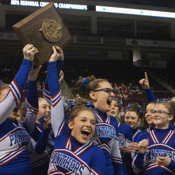 Central Aroostook celebrates after placing first in the Class D cheerleading regionals at the Cross Insurance Center in Bangor on Saturday.