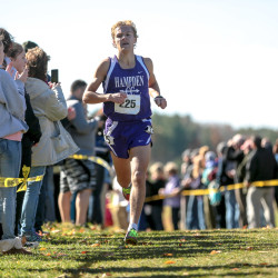 Hampden's Paul Casavant rounds a light bend just past the 2-mile point of the Class A state championship cross-country meet, Oct. 31, 2015, at Twin Brook Recreation Area in Cumberland.