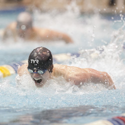 Ellsworth High School's Talor Hamilton competes in the 100-yard butterfly during the Class B state swim meet Feb. 14, 2015, at the University of Maine's Wallace Pool in Orono.