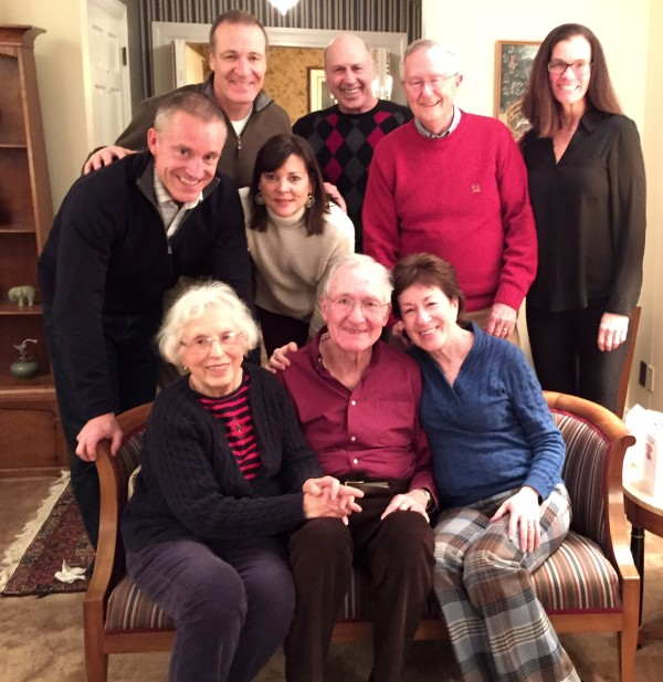 Sen. Susan Collins (bottom right) poses with her family on the occasion of her father's 90th birthday in Caribou. In the first row are (from left) Pat Collins (Mom); Don Collins (Dad); Sen. Collins. In the middle row are (from left) Gregg Collins (brother), Lori Collins (sister-in-law). In the back row are (from left) Sam Collins (brother); Mike Collins (brother); Tom Daffron (husband); and Lise Collins (sister-in-law)