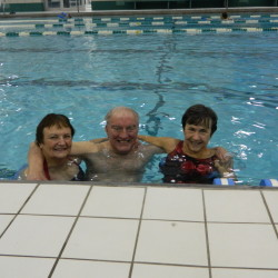 From left to right, Carole Saulnier, Joe Pickering and Carol Kitchenka, seen here in the YMCA Aloupis Pool in December 2015. The three are all Lynn, Massachusetts natives that have randomly become friends while working out at the Y.