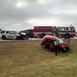 Emergency crews are at the scene of a motor vehicle crash on outer Hammond Street near the Target Industrial park.