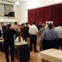 The crowd listens intently at PubHub, always the first Wednesday of the month at Mechanics' Hall.