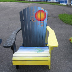 Chairs similar to these will be painted by local artists and then displayed all over Machias. They will be auctioned off in the fall to benefit the local food pantry.