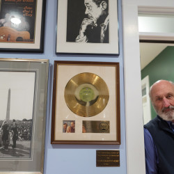 Noel Paul Stookey poses for a photo at his home studio in Blue Hill.