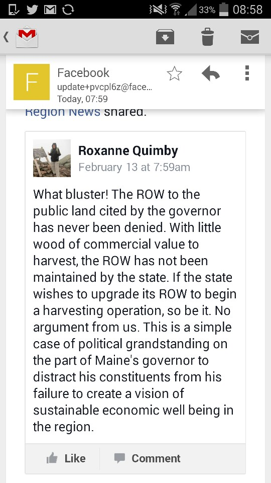 A screenshot shows a Facebook post from Roxanne Quimby, responding to Gov. Paul LePage's recent comments about land access.