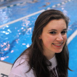 Emma Waddell, formerly a Bangor High School swimmer who is an All-American, swims with Williams College.