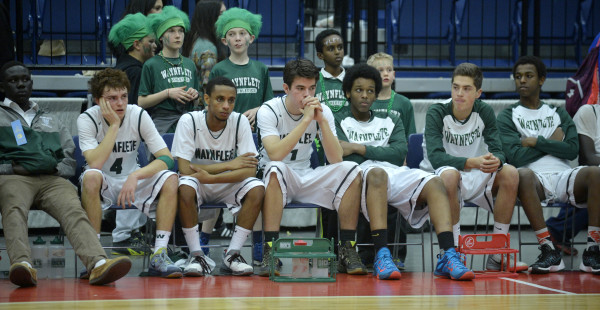 The Wayneflete bench reacts during a 59-46 loss to George Stevens Academy in the Class C state championship Saturday night at the Augusta Civic Center.