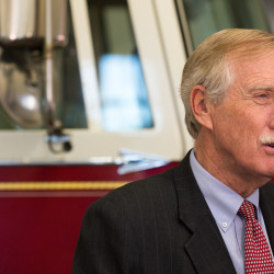 U.S. Sen. Angus King talks to the media after hosting a round table to get input from federal and local law enforcement about terrorist attacks on Friday in Bangor.