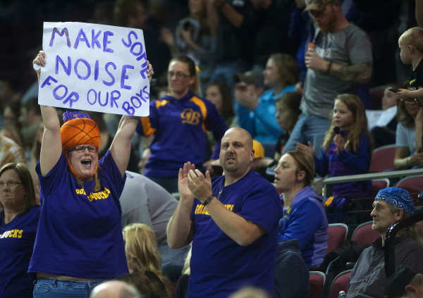 Bucksport fans cheer on their team during their Class C North boys championship basketball game against George Stevens Academy at the Cross Insurance Center in Bangor Saturday night.