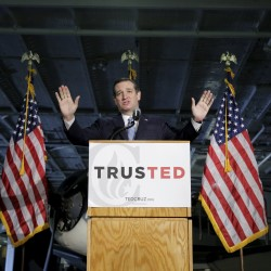 U.S. Republican presidential candidate Senator Ted Cruz (R-TX) speaks at a campaign event on the USS Yorktown in Mount Pleasant, South Carolina February 16, 2016.