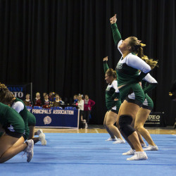 Old Town performs during the Class B cheerleading championship at the Cross Insurance Center in Bangor on Saturday. Old Town placed first.