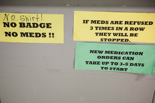 "Rules are displayed on a medication cart at the Androscoggin County Jail in Auburn on Wednesday. ""We are de facto mental health facilities. Sometimes we're there to stabilize them. In order to prevent recidivism, we try to get them back on their meds,"" Capt. Jeff Chute, Androscoggin County Jail administrator, said."