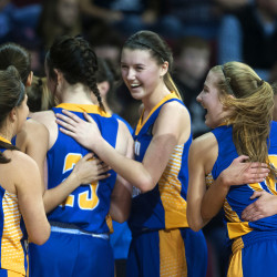 Hermon players celebrate after defeating Presque Isle during their Class B North girls semifinal basketball game on Wednesday at the Cross Insurance Center in Bangor.