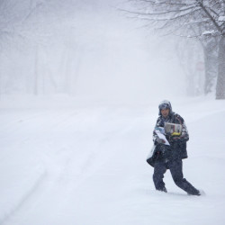 Winter storm pushes up East Coast, northern Maine could get six inches of snow