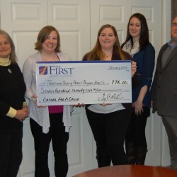 From L to R: Susan Wejchert and Adrienne Randall from Teen & Young Parent Program; Ashley Neptune, Monique Bouchard and Jake Miller of the Park St. Branch of the First National Bank.