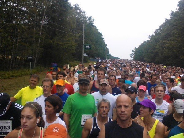 Runners are ready to go, with less than two minutes left before they start the TD Beach to Beacon 10K race, Aug. 2, 2014.
