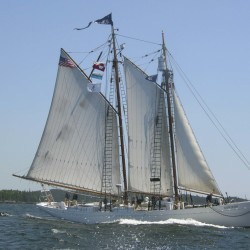 The schooner Bowdoin heads down the Bagaduce River and out of Castine Harbor.