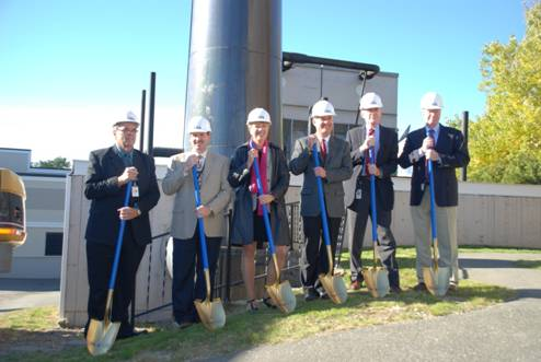 The Aroostook Medical Center officials break ground on the hospital's compressed natural gas heating conversion project in 2012.