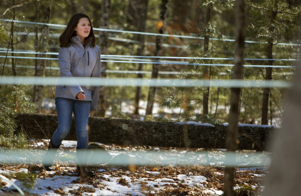 Paige Seymour, 12, wanders through sap lines at Nutkin Knoll Farm and Sugarworks in Newburgh Saturday.