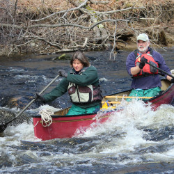 Paddlers make their way through the rapids during the 37th St. George River Race in Searsmont on Saturday.
