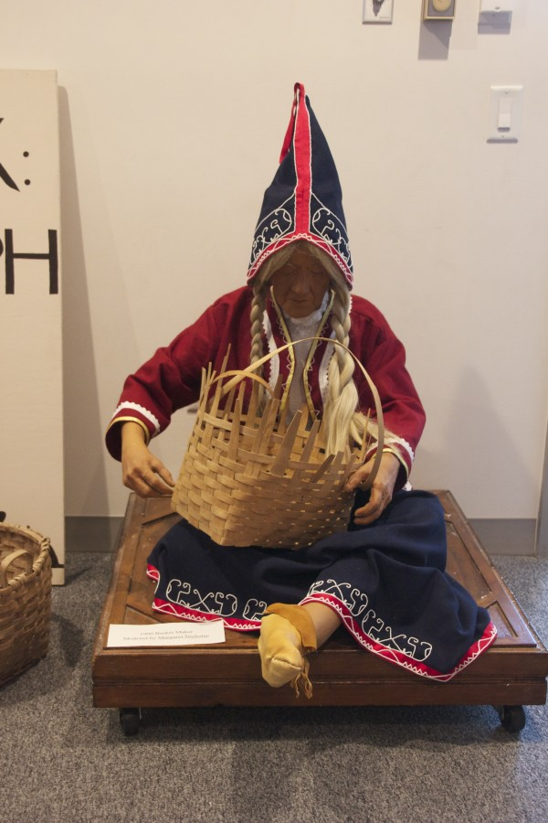 Margaret Nichols was the inspiration for this mannequin, depicted as a basket maker from the 1900s.