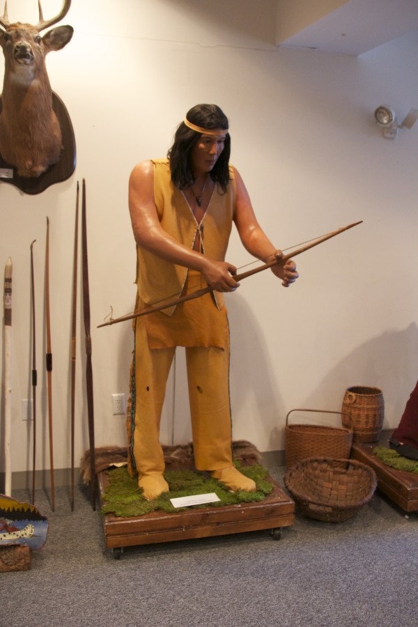The face of Gerard Nicholas was used to create this mannequin, showing a Passamaquoddy deer hunter from the 1600s.
