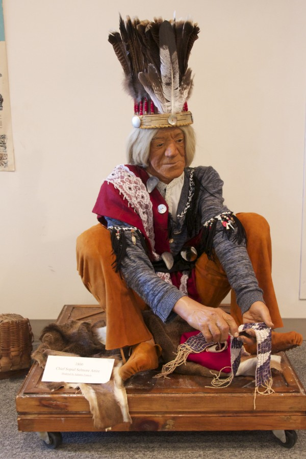 Sabattis Francis was the model for this mannequin, depicting Chief Sopiel Selmore from the 1800s.