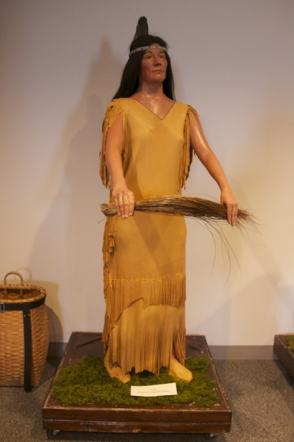 Also illustrating Passamaquoddy life in the 1500s is this mannequin, modeled after Joan Paul Barnes. Her granddaughter, Sierra Moore, made her outfit.
