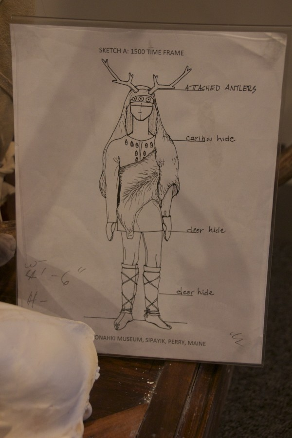 This drawing was used to design the costume for the mannequin dressed as a Passamaquoddy caribou hunter in the 1400s.