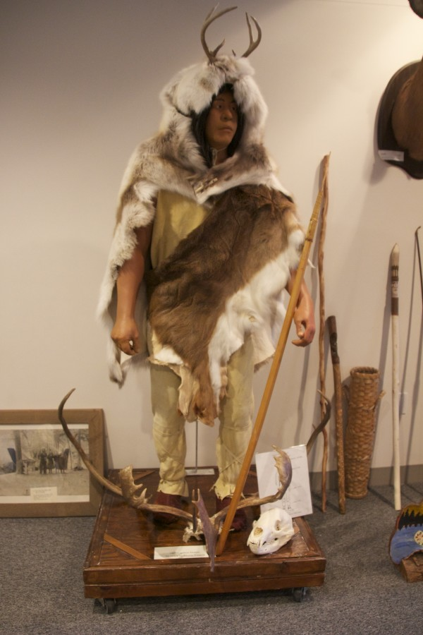 This caribou hunter mannequin illustrating Passamaquoddy life in the 1400s was modeled by Martin Francis.