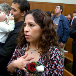 Katerina Campbell after taking the oath of citizenship at the Federal Building in Bangor in this 2007 file photo.