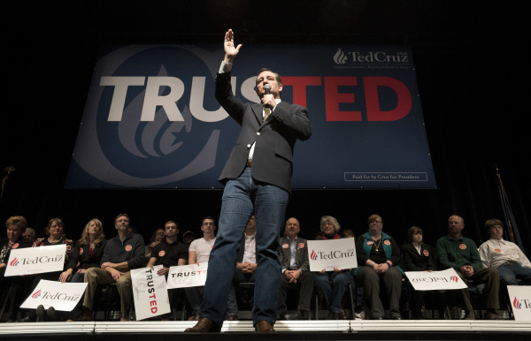Republican presidential candidate Sen. Ted Cruz speaks to the audience during a campaign rally on Friday at the University of Maine in Orono.