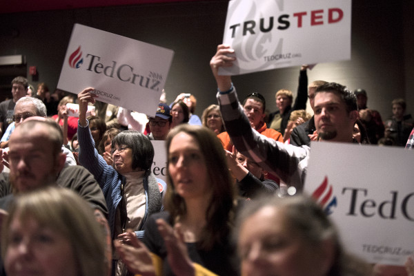 Supporters for Republican presidential candidate Sen. Ted Cruz cheer during a campaign rally on Friday at the University of Maine in Orono.