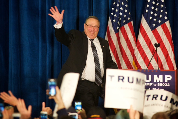 Gov. Paul LePage takes the stage at a campaign rally in Portland where he introduced presidential candidate Donald Trump, March 3, 2016.