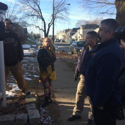 Roxann White, center, talks to reporters, Portland Codes Enforcement Officer Chuck Fagone and Portland Fire Capt. David Petruccelli, right, outside the 188 Dartmouth St. residence where she rented space in this 2014 CBS 13 file photo. White and her landlord at the time traded accusations about who was to blame for the substandard living conditions at the site. The tenants ultimately agreed to move out, in part, because they said they couldn't afford to argue their case in court.