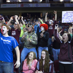 Narraguagus fans cheer on their team during their Class C North girls championship basketball game against Penobscot Valley on Feb. 19 at the Cross Insurance Center in Bangor.