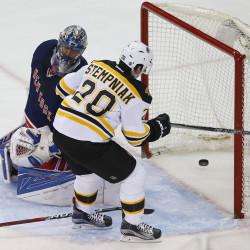 Boston Bruins right wing Lee Stempniak (20) scores a goal against New York Rangers goalie Henrik Lundqvist (30) during second period at Madison Square Garden.