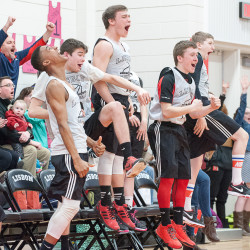 The Lisbon bench and fans react as a Lisbon player scores a basket during the unified South regional basketball championship game against Deering-Portland on Tuesday in Lisbon.