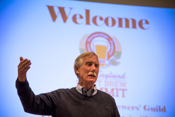 Sen. Angus King addresses a sold-out audience of brewers and professionals at the inaugural New England Brew Summit in Portland on Friday, April 1.
