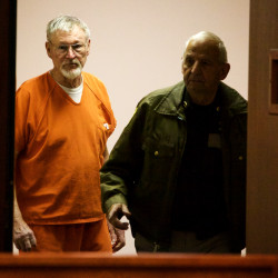 """Merrill """"Mike"""" Kimball arrives in court for sentencing in Portland for the October 2013 murder of Leon Kelley, June 5, 2015."""