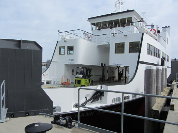 The Maine State Ferry, the E. Frank Thompson, is docked at the ferry terminal in Rockland, March 26, 2012.