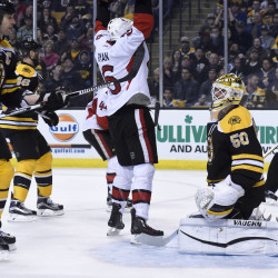 Ottawa Senators right wing Bobby Ryan (6) reacts as the puck goes past Boston Bruins goalie Jonas Gustavsson (50) for a goal during the second period Saturday at TD Garden in Boston.