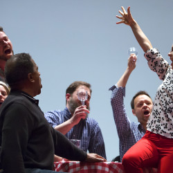 """Members of the cast rehearse their part for """"La Boheme"""" at the Collins Center in Orono on Tuesday."""