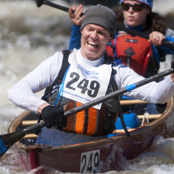 Erick Elgaaen (left) navigates Six Mile Falls on the Kenduskeag Stream in Bangor with Jennifer Elgaaen during the 50th annual Kenduskeag Stream Canoe Race on Saturday. The 16-mile race began in Kenduskeag and ended in downtown Bangor.