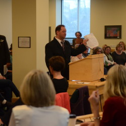 Eric McVay of Hampden testifies to the Legislature's Health and Human Services Committee about proposed cuts to services for adults with mental illnesses or disabilities on April 1 in Augusta.