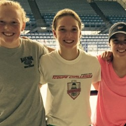 Olivia King (from left) and twin sisters Morgan and Ally Trimper will attend a regional ice hockey festival at the Northford Ice Pavilion in Northford, Connecticut, this weekend