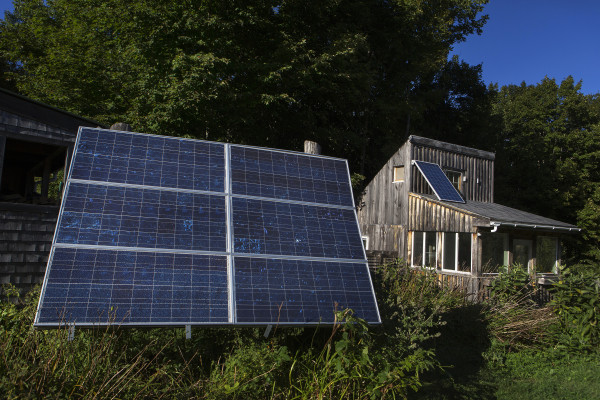 Solar panels are seen on the outside of a home in Searsport on Sept. 14, 2015.