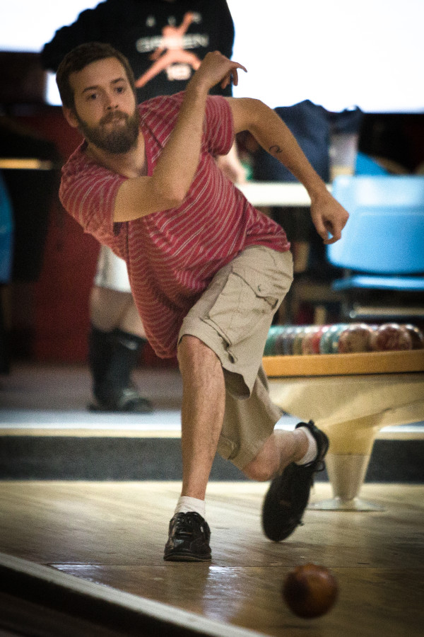 Joe Sparks bowls Monday night at Colonial Bowling Center in Westbrook. The bowling alley will close for good after a farewell tournament May 7.